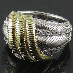 Judith Ripka Sterling & 14K Clad Swirl Ring